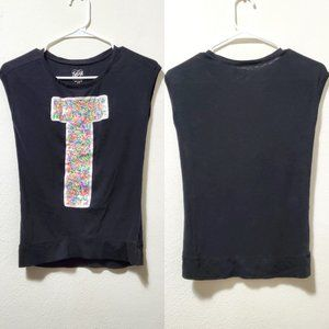 Justice Girls Black T Sleeveless T-shirt